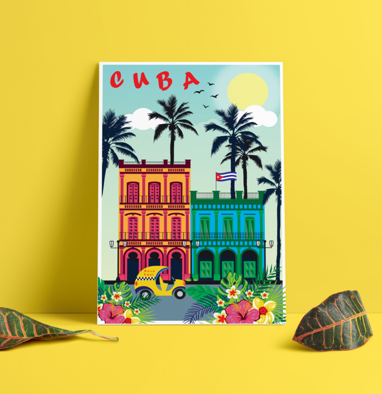 Affiche-Cuba-Graphisme-Illustration-Vectorielle-Digital-Print-Chickadee-Blue