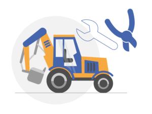 Illustration d'un équipement de construction et d'outils de maintenance